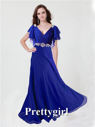 Prom Dresses - 0097 pretty girl V neck wiht sleeve purple grey royal blue elegant party maxi plus size evening dress long 2014 new arrival - Royal Blue / 2  jetcube