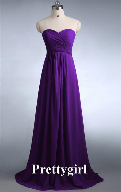 Bridesmaid Dresses - 0039 wine red colored chiffon strapless prom party dresses new fashion 2013 bridesmaid dress long - Royal Purple / 6  jetcube