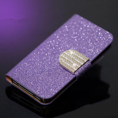 Fitted Cases - (3 Styles) Case For Samsung Galaxy J5 SM-J500F Pu Leather Flip Phone Stand Case For Samsung Galaxy J5 2015 Samsung J5 J5008 - SF Purple Diamond  jetcube