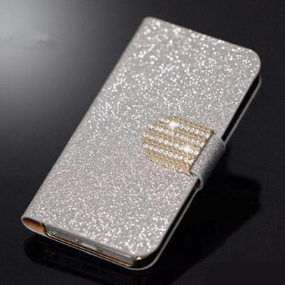 Fitted Cases - (3 Styles) Case For Samsung Galaxy J5 SM-J500F Pu Leather Flip Phone Stand Case For Samsung Galaxy J5 2015 Samsung J5 J5008 - SF Silver Diamond  jetcube