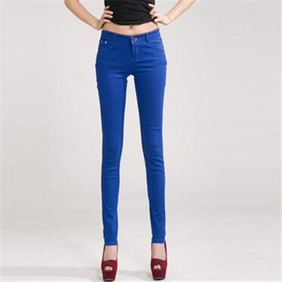- 18 Colors Jeans 2017 New Sexy Women Pants Spring Summer Fashion Pencil Pant Lady Skinny Long Candy Color Plus Size Trousers K104 - Sapphire / 25  jetcube