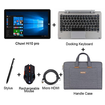 "Laptop - 10.1"" Chuwi Hi10 Pro 2 In 1 Tablet PC Superior Metal Tablet Intel Cherry Trail X5-Z8350 Windows 10 & Android 5.1 4G 64G IPS HDMI - Set4  jetcube"