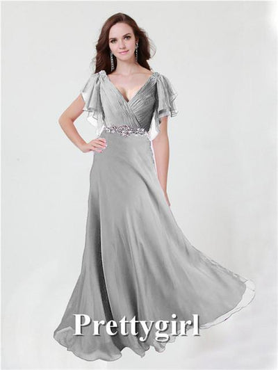 Prom Dresses - 0097 pretty girl V neck wiht sleeve purple grey royal blue elegant party maxi plus size evening dress long 2014 new arrival - Silver 73 / 2  jetcube