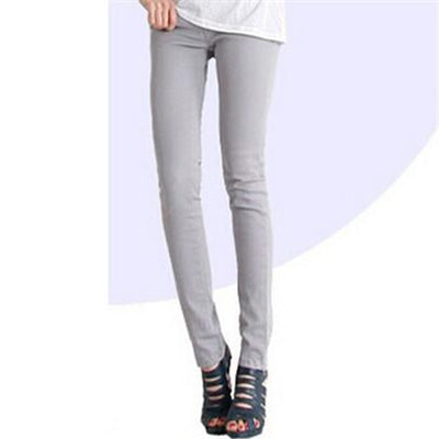 - 18 Colors Jeans 2017 New Sexy Women Pants Spring Summer Fashion Pencil Pant Lady Skinny Long Candy Color Plus Size Trousers K104 - Silver gray / 25  jetcube