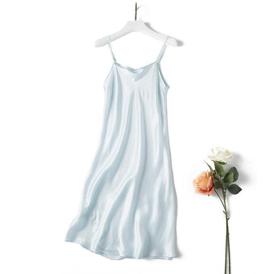 Nightgowns & Sleepshirts - 100% REAL silk nightgowns women Sexy Spaghetti Strap sleepdress Solid SATIN nightdress nightie Summer style pink white black - Sky Blue / M  jetcube