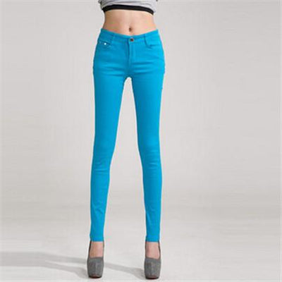 - 18 Colors Jeans 2017 New Sexy Women Pants Spring Summer Fashion Pencil Pant Lady Skinny Long Candy Color Plus Size Trousers K104 - Sky blue / 25  jetcube