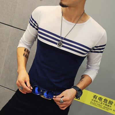 2017 Autumn Casual T Shirt Men Fashion Striped O Neck Long Sleeve Men's T Shirt Slim Fit Mens Clothes Trend Hip Hop Top Tees 5XL T-Shirts li fen wen na Official Store- upcube