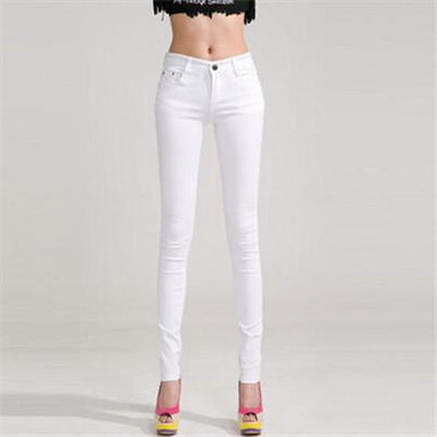 - 18 Colors Jeans 2017 New Sexy Women Pants Spring Summer Fashion Pencil Pant Lady Skinny Long Candy Color Plus Size Trousers K104 - White / 25  jetcube