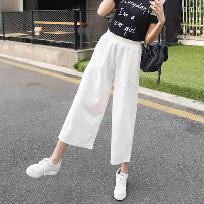 Pants & Capris - #1624 Spring summer Chiffon High waist Casual wide leg pants women Ankle-length Bell bottom pants Wide trousers Pantalon femme - White / S  jetcube