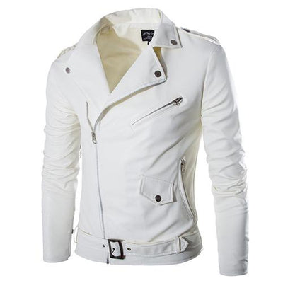 Leather - 2016 Foreign Trade New Korean Men's Slim Diagonal Zipper Male Leather Motorcycle Jacket Men White Leather Jackets 13M0171 -   jetcube