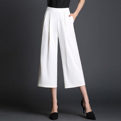 Pants & Capris - 017 high waist wide leg pants fashion loose summer plus size casual capris - White / S  jetcube