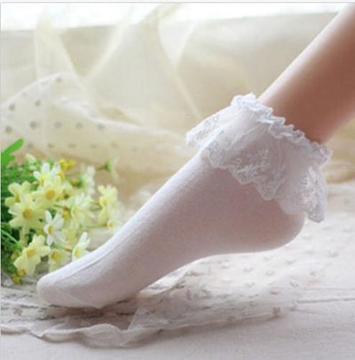 Socks - 2016 Fashionable Lovely Cute Fashion Women Vintage Lace Ruffle Frilly Ankle Socks Lady Princess Girl Favorite 5 Color Available - White  jetcube