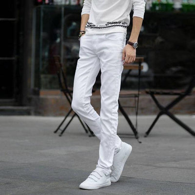 Jeans - #1404 Thin Spring 2017 White jeans men Elasticity Casual jeans hommes Slim fit Skinny jeans men Famous brand Distressed Pencil - White / 27  jetcube