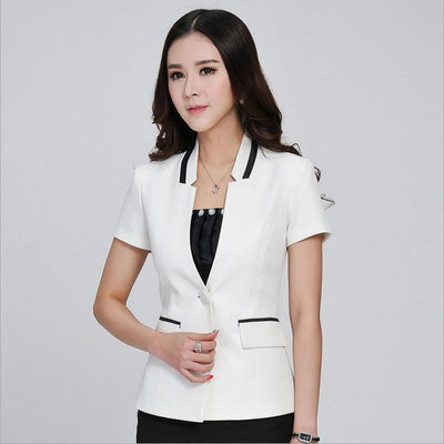 Blazers - 1pcs Women jackets blazers 2017Summer Fashion Cotton blended short sleeves Slim Fit small Suit Jacket Skinny blazers Coat ladies - White / S  jetcube
