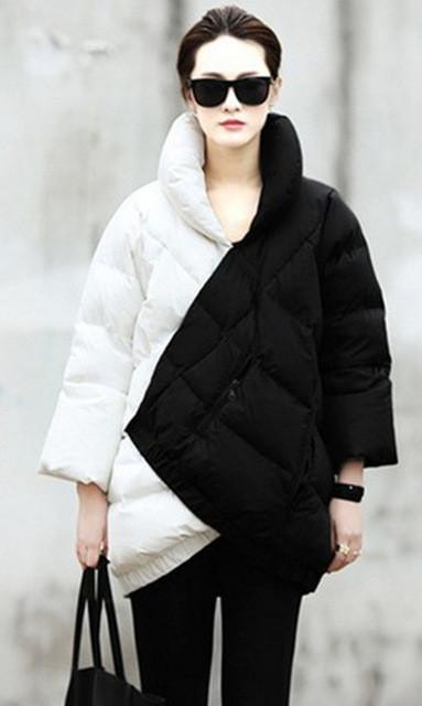 Down Coats - 2015 Best-selling Europe And The United States Women's Black And White Coak Stitching Down Jacket tType Asymmetric Winter Coat - White / S  jetcube