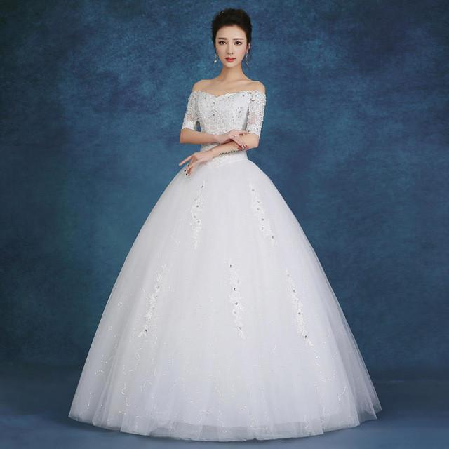 Free Shipping Plus Size White Red Lace Wedding Dresses Cheap Boat