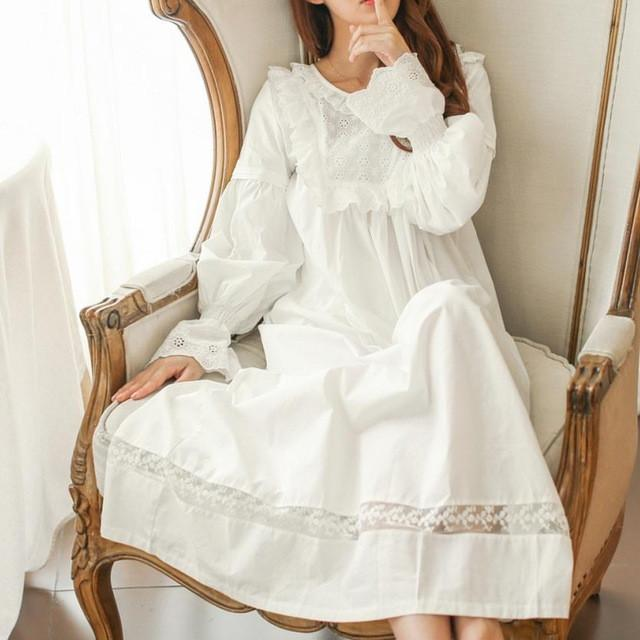 Nightgowns & Sleepshirts - 100% cotton Pure Royal  Pure white Nightgown Princess Long Sleeve Nightdress Ladies Sleepwear White Women's Nightwear  B4077 -   jetcube