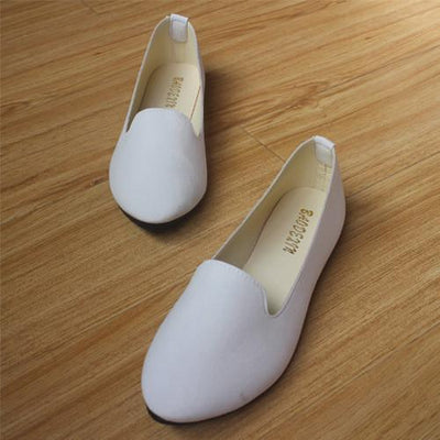 Women's Pumps - 18 Colors 2016 retro style women casual outdoor candy colors suede CASUAL work lady point toe slip round toe shoes  #XE28 - White / 10  jetcube