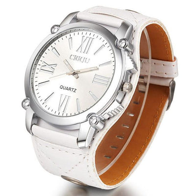 Quartz Watches - 2016 Fashion Unisex Men Women Ladies Dress Oversize Roman Dial Watches Men's Quartz Clock Luxury brand Leather Strap Wrist Watch - White  jetcube