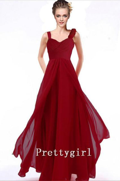 Bridesmaid Dresses - 0010 Bride maid two shoulder coral burgundy purple blue black colored chiffon long bridemaids party gown bridesmaid dresses - Wine Red / 2  jetcube
