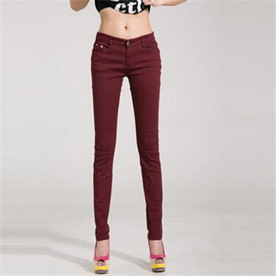 - 18 Colors Jeans 2017 New Sexy Women Pants Spring Summer Fashion Pencil Pant Lady Skinny Long Candy Color Plus Size Trousers K104 - Wine red / 25  jetcube