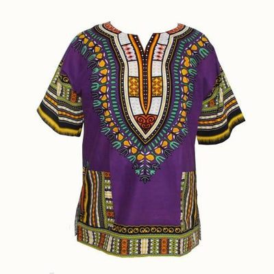 T-Shirts - (fast shipping) 2016 Newest Fashion Design African Traditional Print 100% Cotton Dashiki T-shirt for unisex - X purple / L  jetcube