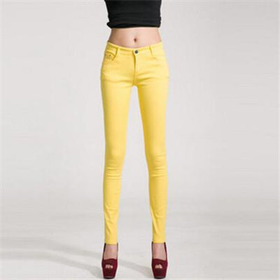 - 18 Colors Jeans 2017 New Sexy Women Pants Spring Summer Fashion Pencil Pant Lady Skinny Long Candy Color Plus Size Trousers K104 - Yellow / 25  jetcube
