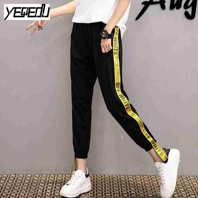 Pants & Capris - #1642 Summer 2017 Loose pantalon femme Punk Thin Side stripe Ankle-length Two side ribbon Casual Hip hop pants Joggers women - Yellow / M  jetcube