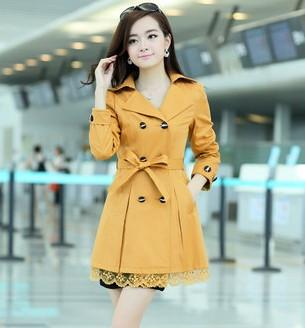 Trench - 1PC Trench Coat For Women Spring Coat Double Breasted Lace Casaco Feminino Autumn Outerwear Abrigos Mujer Q015 - Yellow / XXL  jetcube