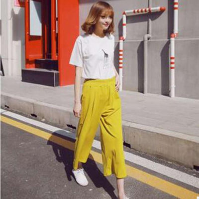 Pants & Capris - #1624 Spring summer Chiffon High waist Casual wide leg pants women Ankle-length Bell bottom pants Wide trousers Pantalon femme - Yellow / S  jetcube