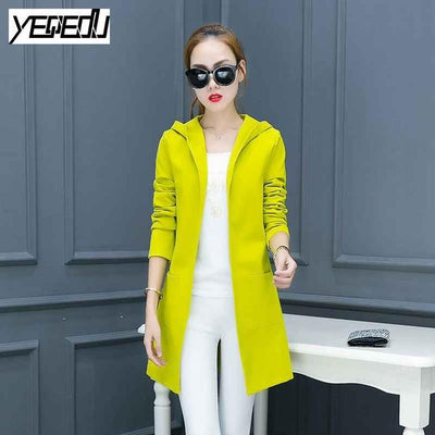 #4017 2017 Spring Neon green Casual Long trench coat Good quality Windbreaker Slim Cardigan Thin With hooded Female overcoat - Jetcube