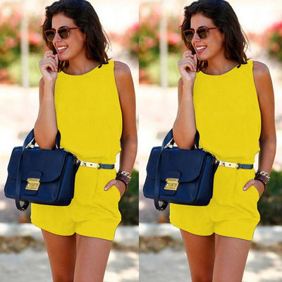 Rompers - 2016 Fashion Women Summer Short Playsuit Sexy Chiffon Backless Romper Office Femme Shorts Set - Yellow / S  jetcube