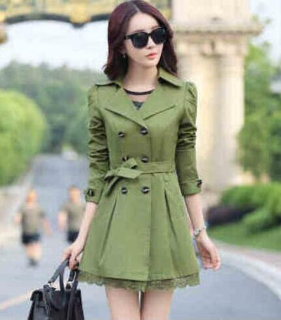 Coats - 1 PC Lace Trench Coat Spring Autumn New Long Turn-down Collar Plus Size Double Breasted Outerwear 2017 Women Casual Solid SY015 - army green / XXL  jetcube