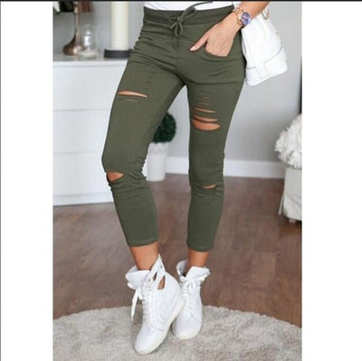 Pants & Capris - 2016 Fashion Women Pants Hollow Out Pants Women Sweatpants Cargo Jogger Pants Skinny Stretch Slim Fit Army Green Pencil Pants - as picture / L  jetcube
