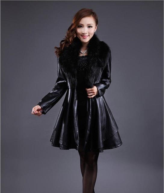 Basic Jackets - 2013 New Winter Leather Trench Coat And Long Slim Sheep Leather Jacket Women'S Raccoon Fur Collar Pleated Leather Jacket H1279 -   jetcube