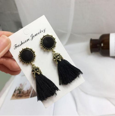 Earrings - 2016 Fashion Vintage Earrings For Women Jewelry Bright Brick Earrings Flower Long Tassel Drop Earrings Dangle Brincos - black  jetcube