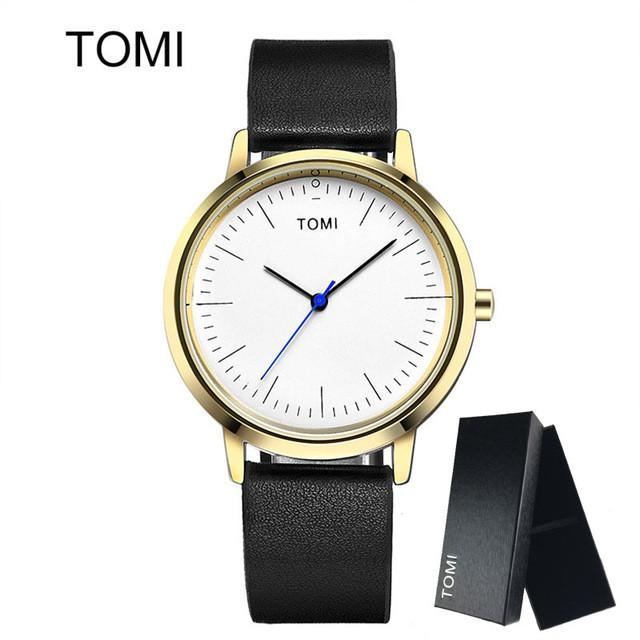 TOMI Men s Watches Woman New Luxury Brand Ultra Thin dial Leather Clock  Male Casual Sport Watch 275440584