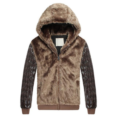 Parka - 2013 new men's fur coat Korean Slim pu leather stitching for fur collar jacket winter hooded long sleeve outwears H1835 - brown / M  jetcube