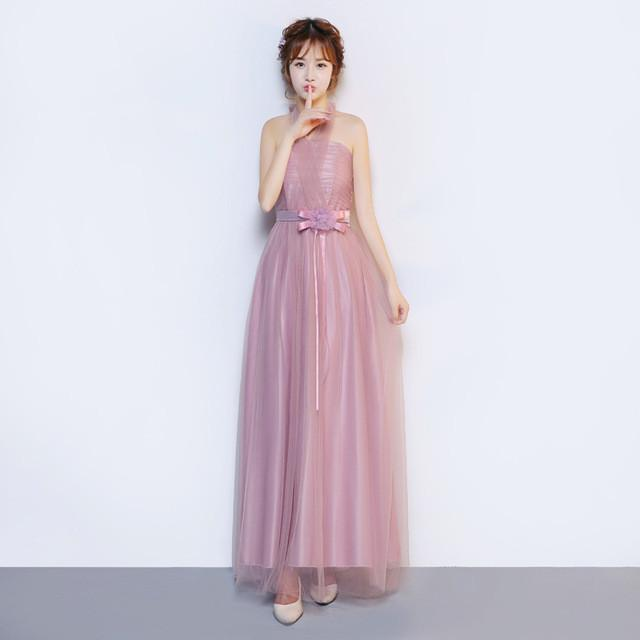 ZX568-Q#Real photos wholesale 2016 new fashion show banquet toast Wedding long Bridesmaid Dresses cheap light purple