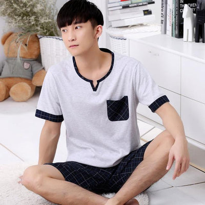 2017 autumn cotton pajama sets for men casual fashionable pyjama suit home sleeping clothing set