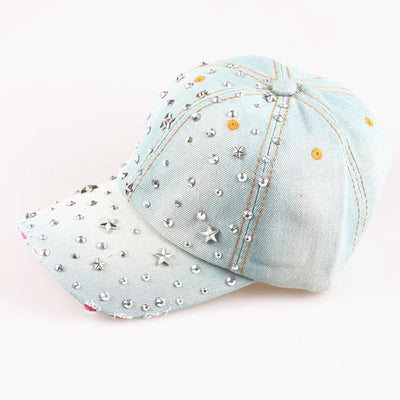 - 2015  Crystal Star Denim Baseball cap Cowboy Hat Rhinestone Snapback Caps For Women hip hop Hats - color one  jetcube