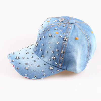 - 2015  Crystal Star Denim Baseball cap Cowboy Hat Rhinestone Snapback Caps For Women hip hop Hats - color two  jetcube