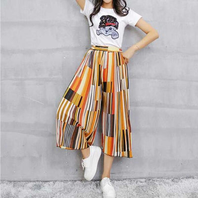Pants & Capris - #1623 Summer Loose Skirt pants women Fashion Wide leg pants Chiffon pants Elastic waist Colorful Calf-length Wide trousers - colour 1  jetcube