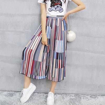 Pants & Capris - #1623 Summer Loose Skirt pants women Fashion Wide leg pants Chiffon pants Elastic waist Colorful Calf-length Wide trousers - colour 2  jetcube