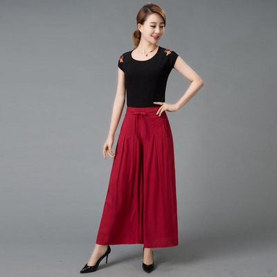 - #1627 2017 Summer Wide leg pants Loose trousers women Skirt pants Pantalon femme Flare pants Wide trousers Pantalones mujer - colour 2 / XXL  jetcube
