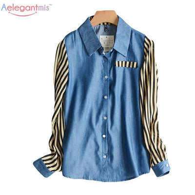 Blouses & Shirts - (10.24 Special Offer) Aelegantmis Autumn Turn-down Collar Striped Sleeve Blouse Women Color Block Fashion Shirt For Ladies -   jetcube