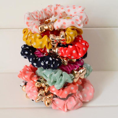 Hair Accessories - 10 Pcs/Lot Solid/ Print/ Dot Printing Elastic Hair Ties Ropes Women Hair Accessories - dot  jetcube