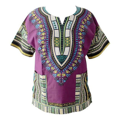 T-Shirts - (fast shipping) 2016 Newest Fashion Design African Traditional Print 100% Cotton Dashiki T-shirt for unisex - dpurple / L  jetcube
