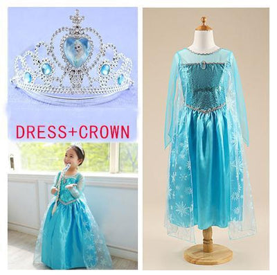 Girls Clothing - 2015 girl dress Elsa Anna princess dress costume kids party dresses summer children cosplay dress fantasia infantil Vestido - dress set2 / 3T  jetcube