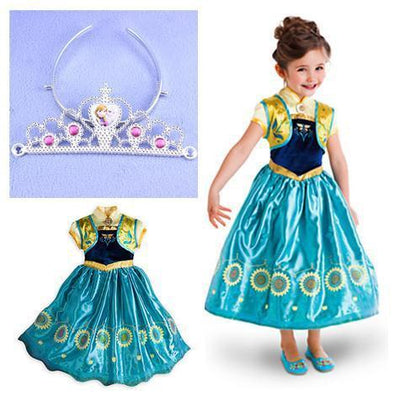 Girls Clothing - 2015 girl dress Elsa Anna princess dress costume kids party dresses summer children cosplay dress fantasia infantil Vestido - dress set3 / 3T  jetcube